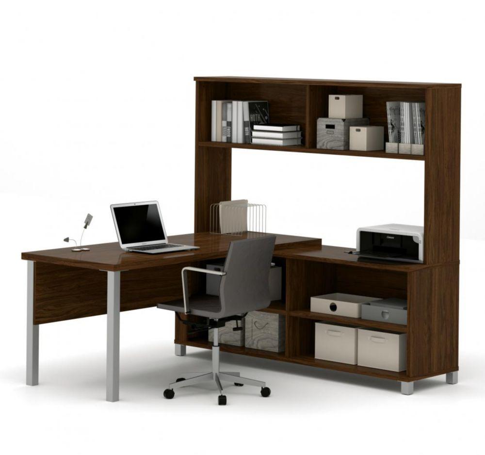 Bestar Pro-Linea L-Desk with hutch in Oak Barrel