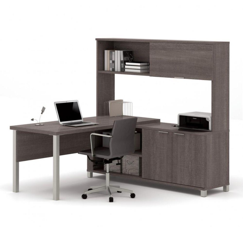 Bestar Pro-Linea L-Desk with hutch including doors in Bark Gray