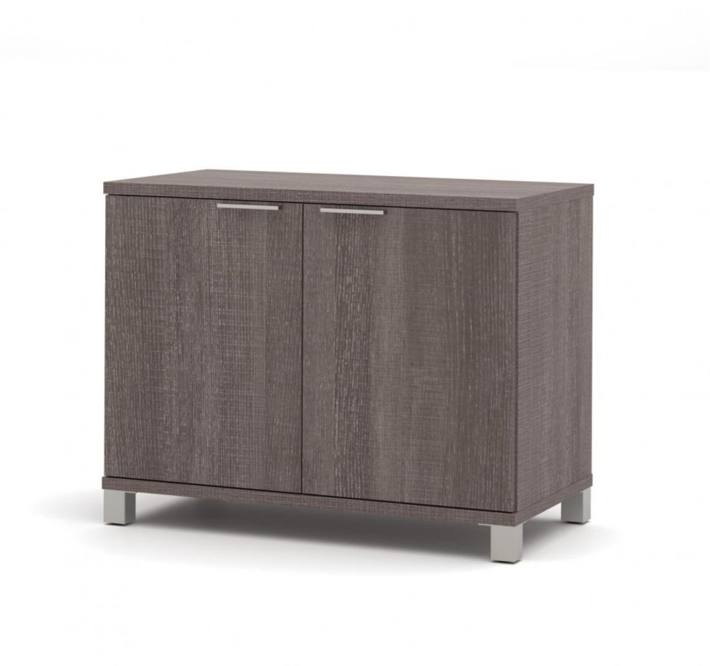 Bestar Pro-Linea 2-door Storage Unit in Bark Gray