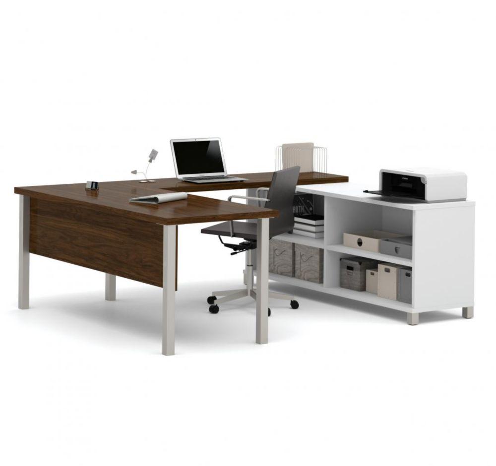 Bestar Pro-Linea U-Desk in White & Oak Barrel