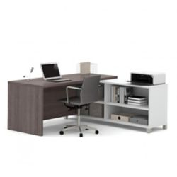 Bestar Pro-Linea L-Desk in White & Bark Gray
