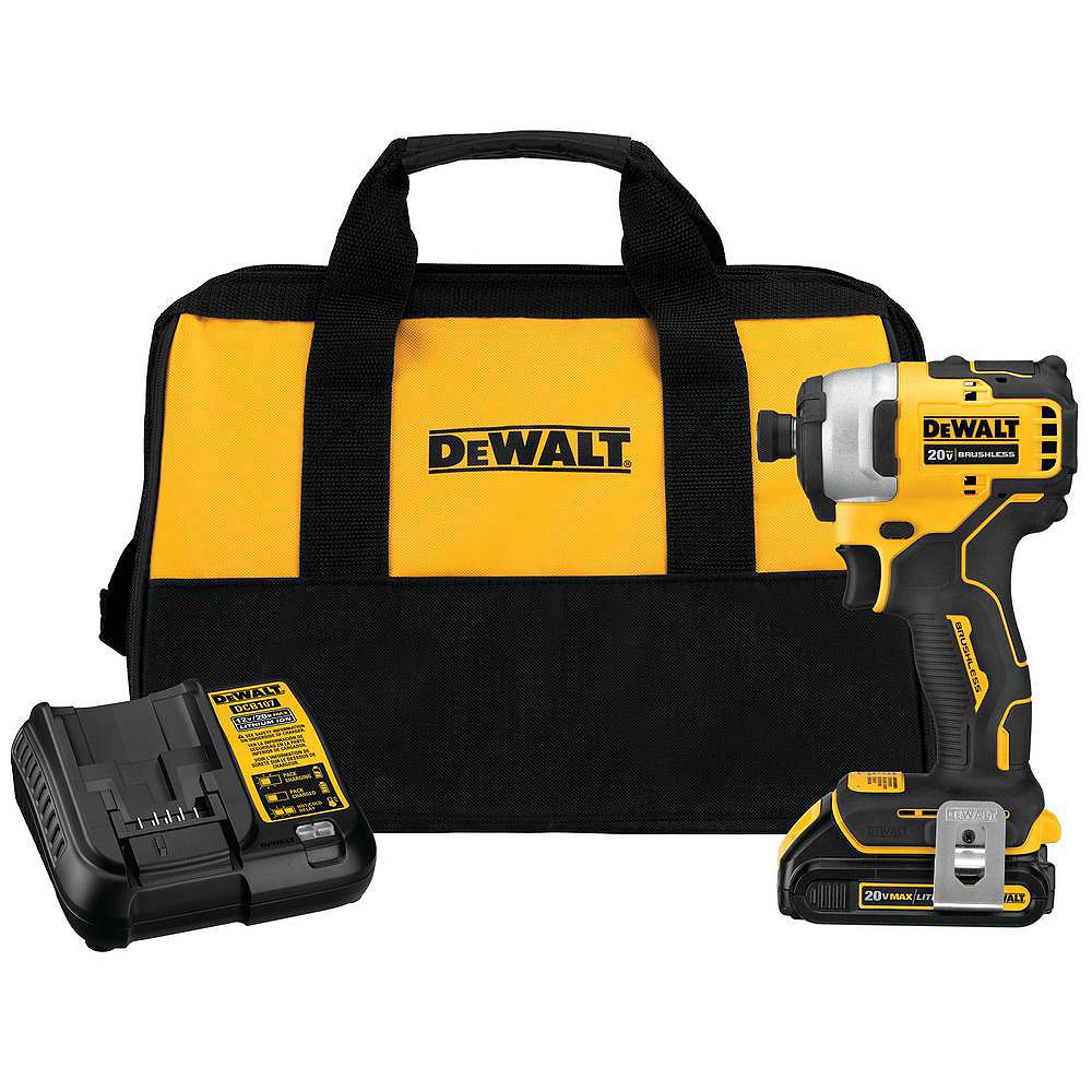 DEWALT ATOMIC 20V MAX Lithium-Ion Brushless Cordless Compact 1/4-inch Impact Driver with (1) Battery 1.3 Ah, Charger & Tool Bag