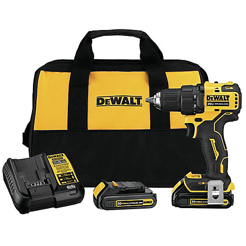 DEWALT ATOMIC 20V MAX Li-Ion Brushless Cordless Compact 1/2-inch Drill Driver w/ (2) Batteries 1.3Ah, Charger & Bag