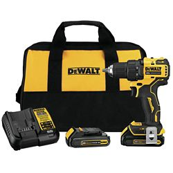 DEWALT ATOMIC 20V MAX Lithium-Ion Brushless Cordless Compact 1/2-inch Drill Driver with (2) Batteries 1.3Ah, Charger & Bag