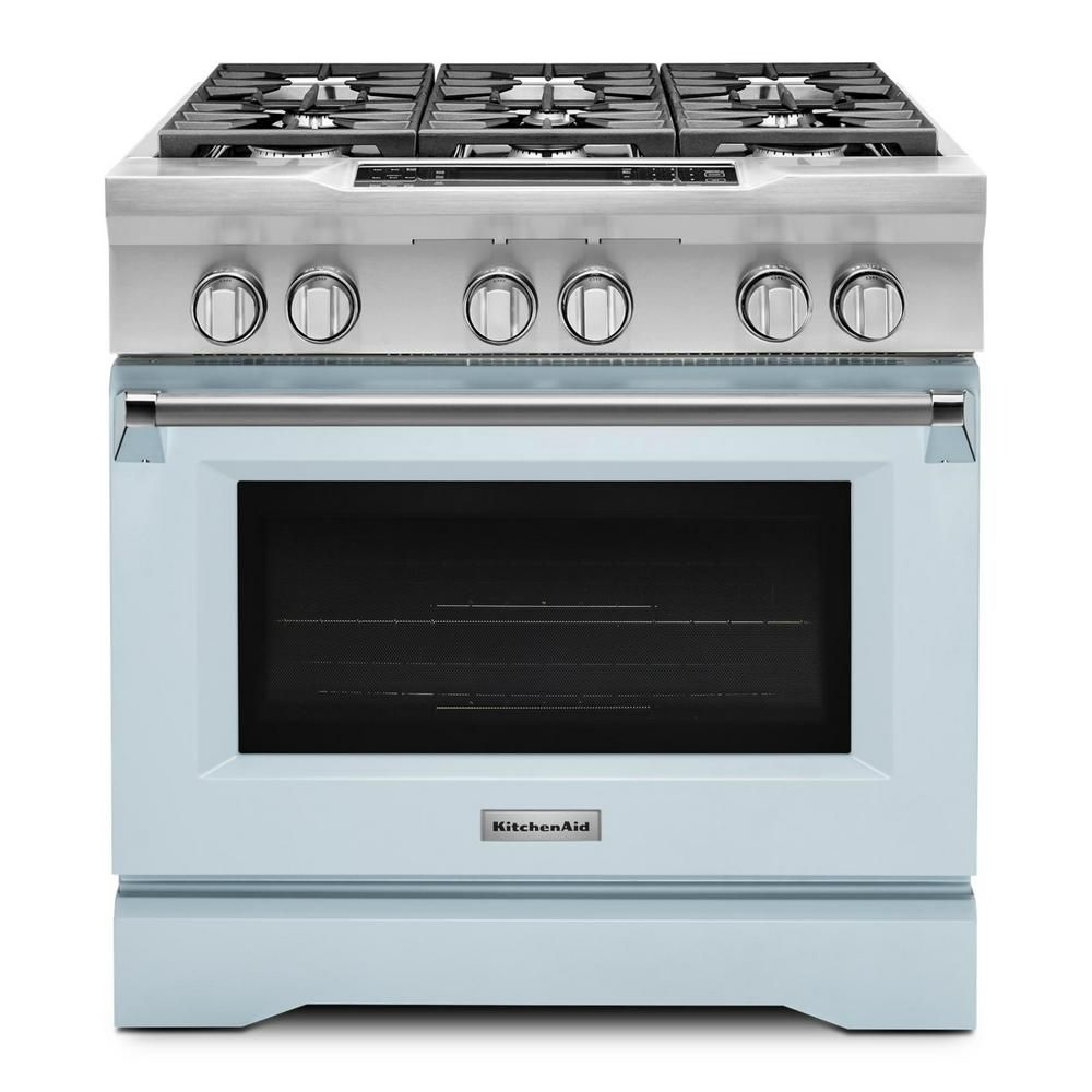 KitchenAid  36-inch 5.1 cu.ft. Single Oven Duel Fuel Range with Self-Cleaning Convection Oven in Misty Blue