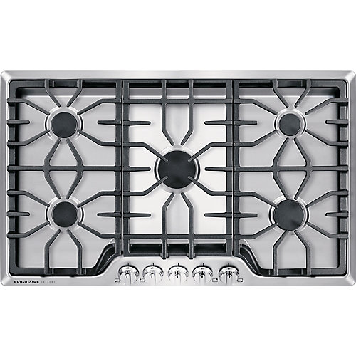 36-inch Gas Cooktop in Stainless Steel with 5 Burners