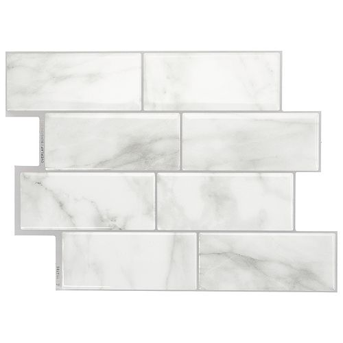 Smart Tiles Metro Carrera 11.56-inch W x 8.38-inch H Grey Peel and Stick Decorative Wall Tile (4-Pack)