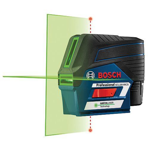 Bosch Laser croix 12 V Max connecté avec faisceaux laser verts et points d'aplomb