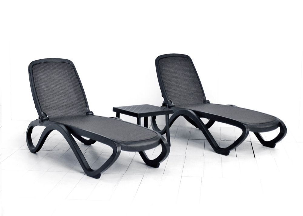 Nardi Omega Chaise Lounge (2-Pack) -(Anthracite/Trama Anthracite Fabric) with Rodi Side Table
