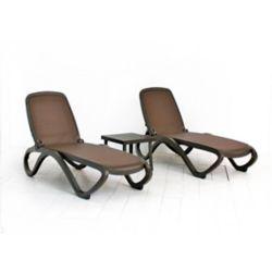 Nardi Ensemble de 2 chaises longues Omaga (de tissu Caffe/Trama) avec table latérale Rodi