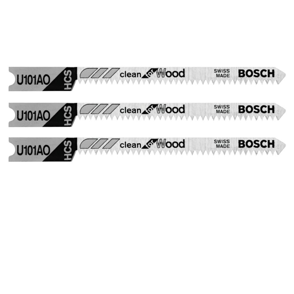 Bosch 3 pc. 2-3/4 inch 20 TPI Clean for Wood U-shank Jig Saw Blades