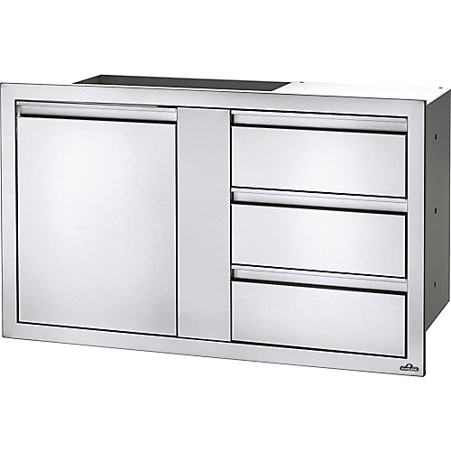 42 inch X 24 inch Large Single Door & Triple Drawer