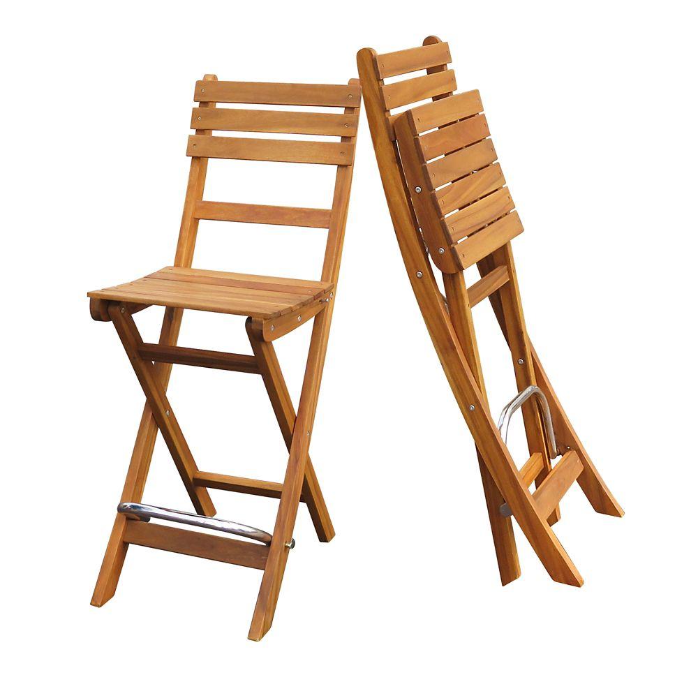 INTERBUILD Sofia Bar Chair (2pcs/pack), Golden Teak