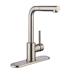 Menlo Single-Handle Pull-Out Sprayer Kitchen Faucet in Stainless Steel
