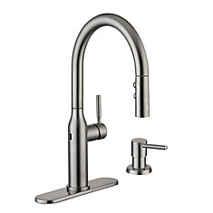 Upson Single-Handle Touchless Pull-Down Sprayer Kitchen Faucet with Soap Dispenser in SS