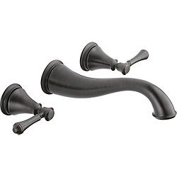 Delta Cassidy Two Handle Wall Mount Lavatory Faucet, Venetian Bronze