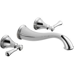 Delta Cassidy Two Handle Wall Mount Lavatory Faucet, Chrome