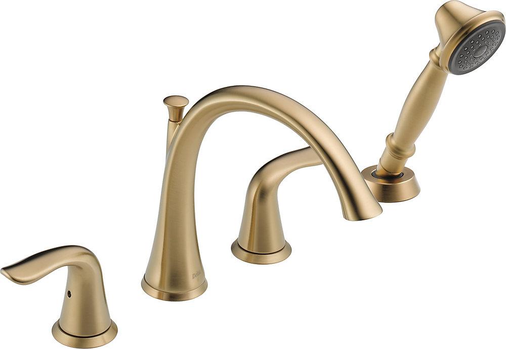 Lahara Roman Tub with Hand Shower Trim, Champagne Bronze