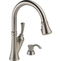 Delta Savile Single Handle Pull-Down Kitchen Faucet with Soap Dispenser and ShieldSpray, Stainless Steel