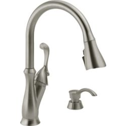 Delta Arabella Single Handle Pull-Down Kitchen Faucet with Soap Dispenser and ShieldSpray, Stainless Steel