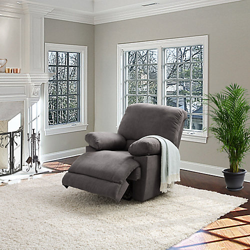 Grey Chenille Fabric Power Recliner With USB Port