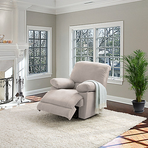 Beige Chenille Fabric Power Recliner With USB Port
