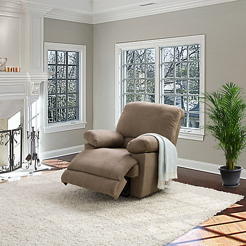 Brown Chenille Fabric Power Recliner With USB Port