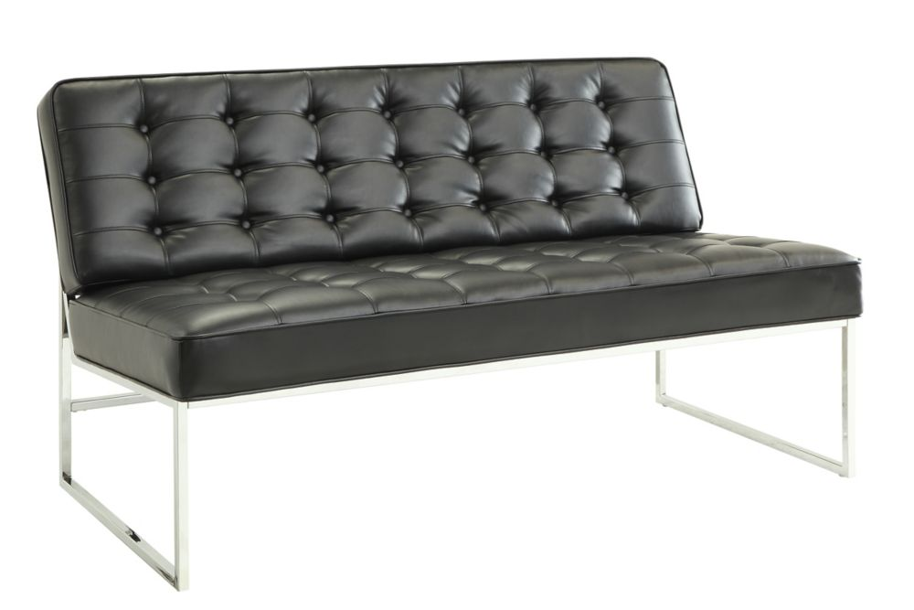 Work Smart Anthony 57-inch Loveseat with Chrome Base and Black Faux Leather Fabric