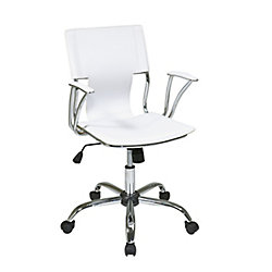 Ave Six Dorado Office Chair in White Vinyl and Chrome Finish