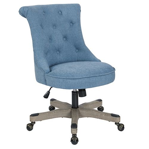 Ave Six Hannah Tufted Office Chair in Sky Fabric with Grey wood Base
