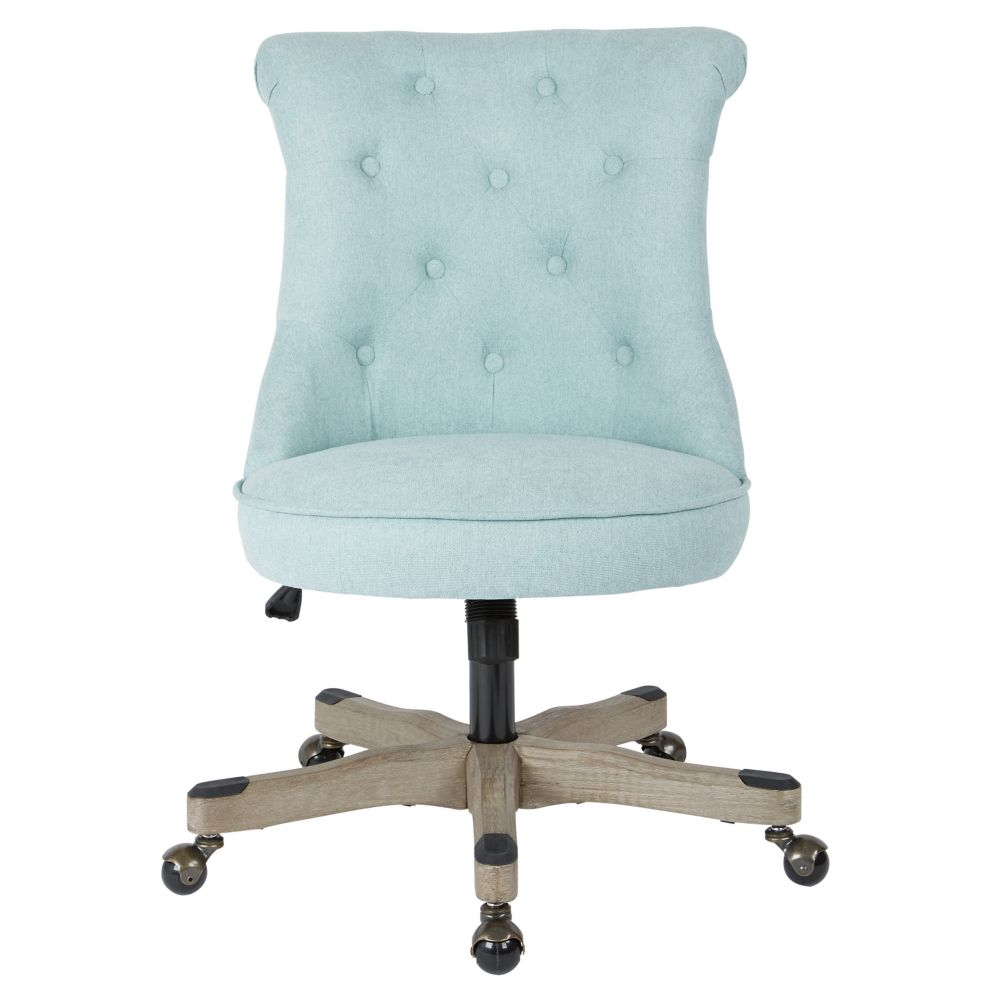 Ave Six Hannah Tufted Office Chair in Mint Fabric with Grey wood Base
