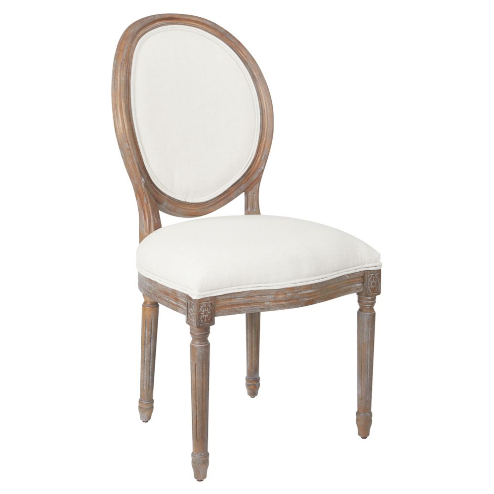 Ave Six Lillian Oval Back Chair in Linen Brushed Frame