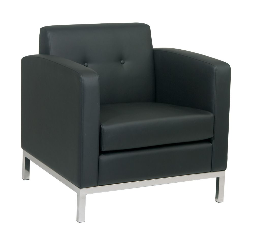 Ave Six Wall Street Arm Chair in Black Faux Leather