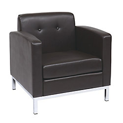Ave Six Wall Street Arm Chair in Espresso Faux Leather