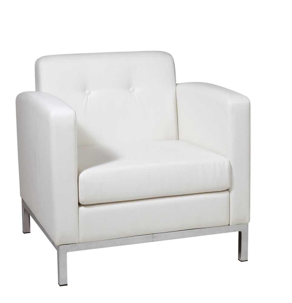 Ave Six Wall Street Arm Chair in White Faux Leather