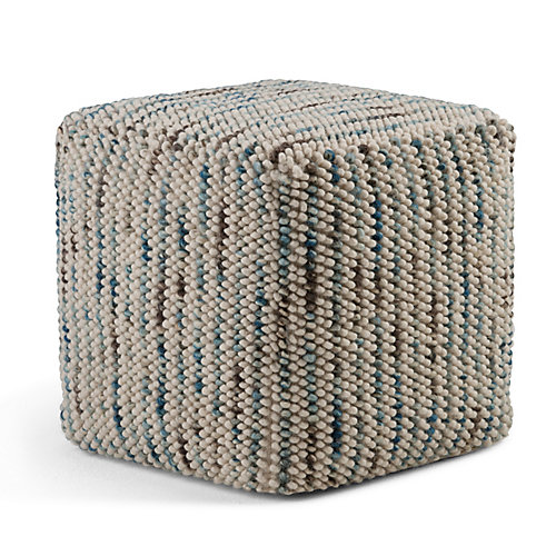 Zoey Woven Cube Pouf in Multi Color Cotton and Wool