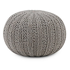 Shelby Hand Knit Round Pouf in Dove Grey Cotton