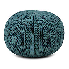 Shelby Hand Knit Round Pouf in Teal Cotton