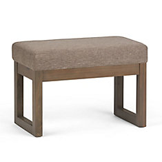 Milltown 27 inch Wide Contemporary Footstool Ottoman Bench in Fawn Brown Linen Look Fabric