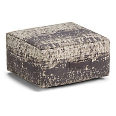 Tilley Square Pouf in Taupe and Grey Cotton