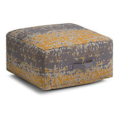 Tilley Square Pouf in Yellow and Grey Cotton
