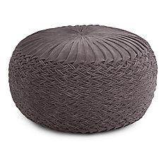Grafton Velvet Round Pouf in Grey Velvet