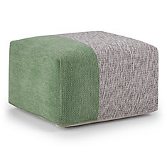 Emmett Square Pouf in Green and Grey Chenille Look Cotton