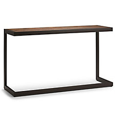 Erina Solid Acacia Wood Console Sofa Table in Rustic Natural Aged Brown