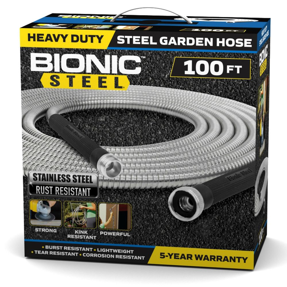 Bionic Steel 0.63 inch Dia. x 100 ft. Heavy-Duty Stainless Steel Garden Hose