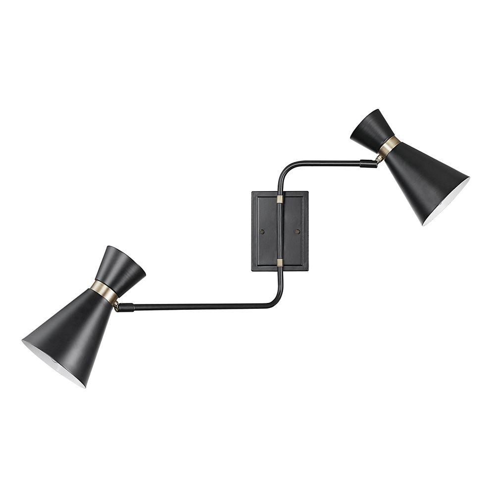 Globe Electric Belmont 2-Light Matte Black Swing Arm Wall Sconce