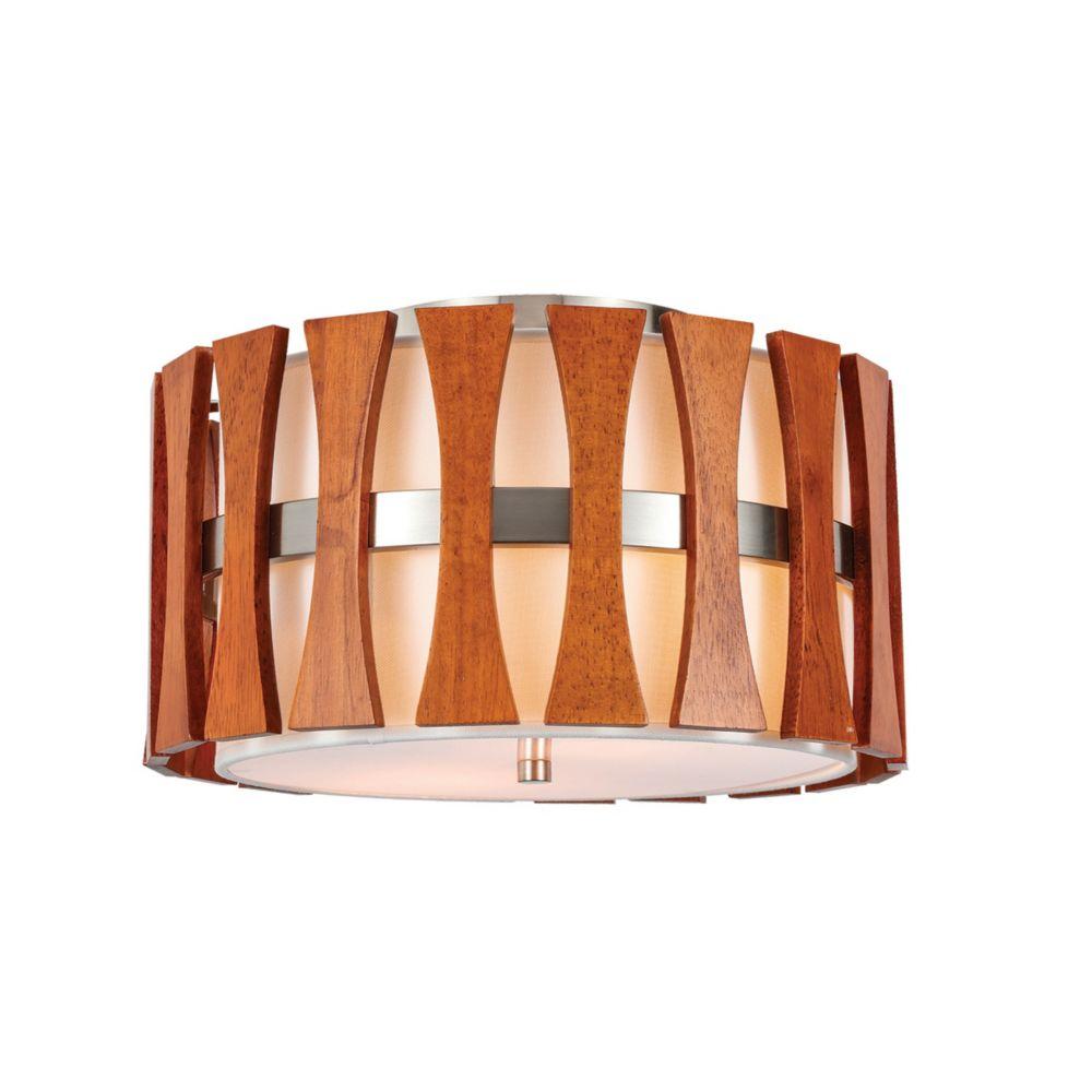 Lumirama Puccini - 2 Light Flushmount With White And Wood Shade