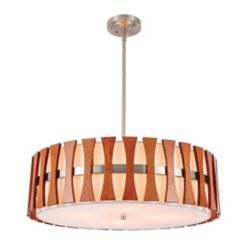 Lumirama Puccini - 4 Light Suspension With White And Wood Shade