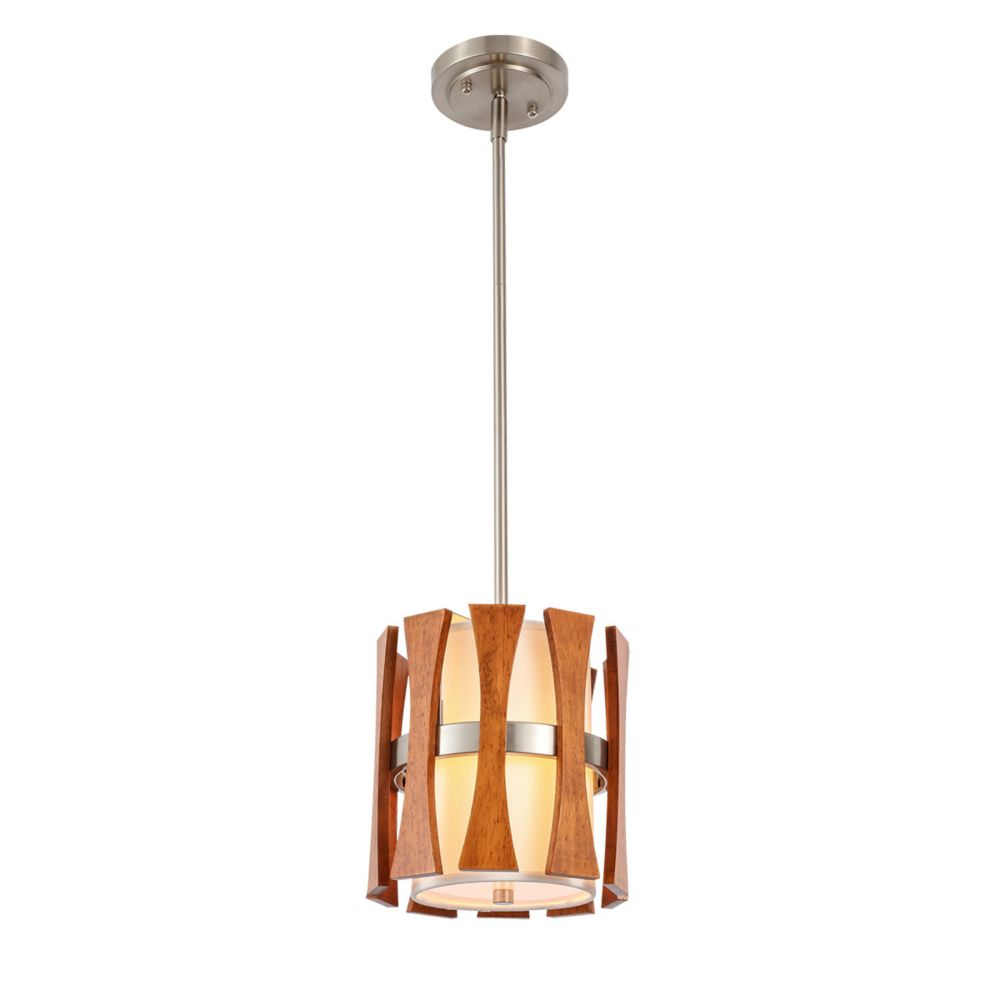 Lumirama Puccini - 1 Light Suspension With White And Wood Shade