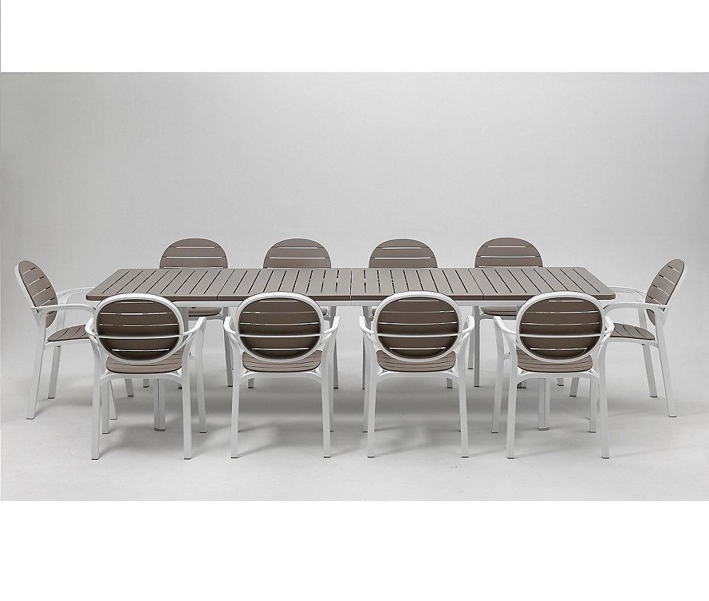 Ensemble de patio Alloro/Palma de 11 pièces - Blanc Tortora